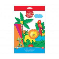 Цветной картон мелованный в папке с подвесом ArtBerry®, В5, 10 листов,10 цветов, игрушка-набор для детского творчества