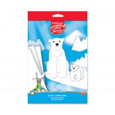 Белый картон мелованный в папке с подвесом ArtBerry®, B5, 10 листов, игрушка-набор для детского творчества
