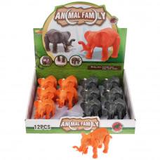 Игрушка заводная слон, цвет в ассорт. 66391 в дисплее уп-12шт в кор.2*9уп